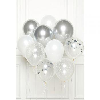 Bouquet 10 ballons coeur silver