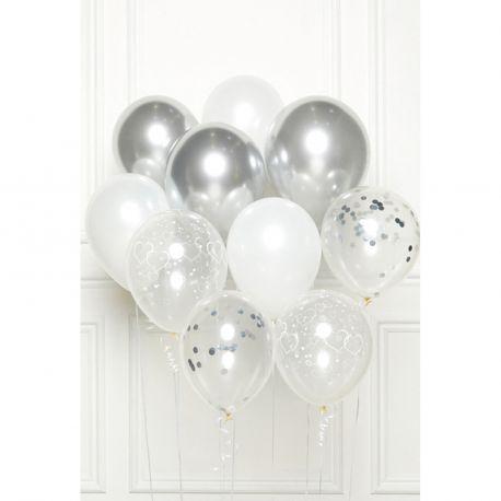 Bouquet de 10 ballons assortis contenant 3 argent, 3 blanc, 2 transparents confettis argent et 2 transparents cœurs blancDimension des...