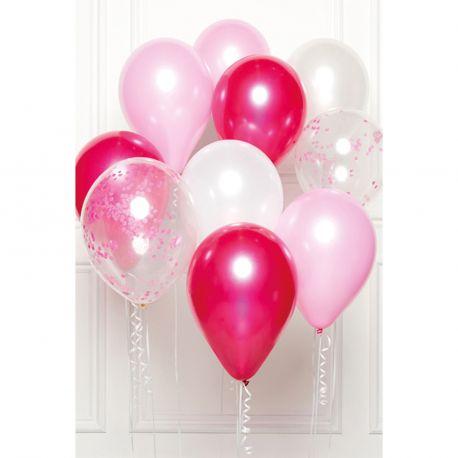 Bouquet de 10 ballons assortis contenant 3 fuschia, 3 rose, 2 transparents confettis rose et 2 blancDimension des ballons Ø30cmLivré...