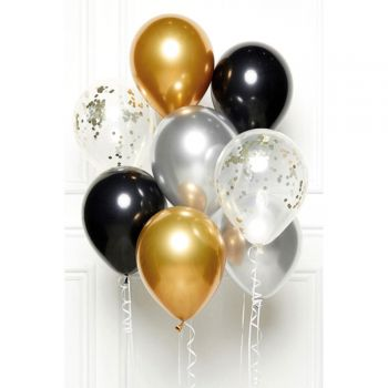 Bouquet 8 ballons black gold silver
