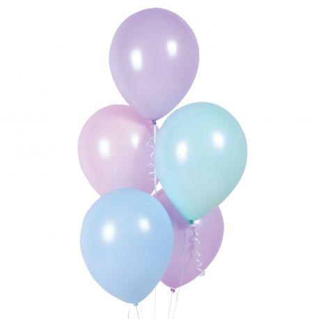 Bouquet de 10 ballons latex de couleur assortis pastel macaronsDimension des ballons Ø27.5cmLivré non gonflé