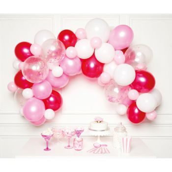 Kit arche de 70 ballons tons rose