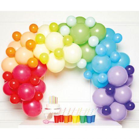 Réaliser une superbe arche en ballons aux tons arc en ciel pour votre fête d'anniversaire ou mariage avec ce kit contenant:5 Ballons...