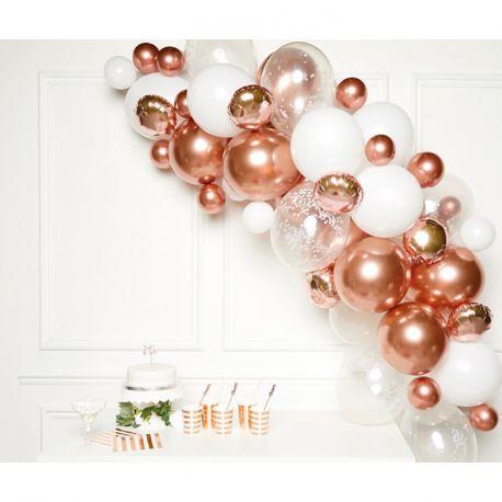 Réaliser une superbe arche en ballons aux tons gold rose métallisés pour votre fête d'anniversaire ou mariage avec ce kit contenant:15...