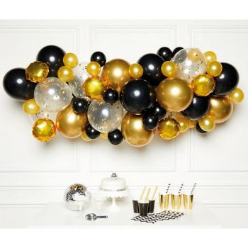 Kit arche de 66 ballons black gold