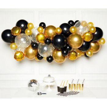 Kit arche de 66 ballons black gold