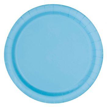 16 Assiettes en carton rondes bleu bébé