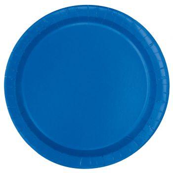 16 Assiettes en carton rondes bleu royal