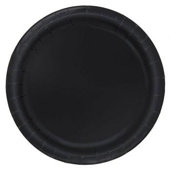 16 Assiettes en carton rondes noires