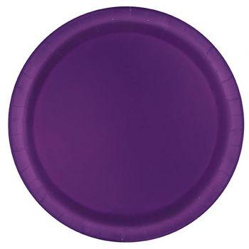 16 Assiettes en carton rondes violette foncées
