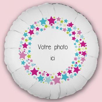 Ballon personnalisé décor Stars Multicolores Ø43cm
