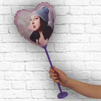 Ballon coeur personnalisé cadre violet