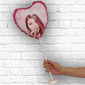 Ballon coeur personnalisé cadre fuschia