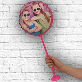 Ballon rond personnalisé cadre fuschia Ø 28 cm