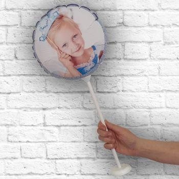 Ballon rond personnalisé cadre paillette bleu ciel Ø 28 cm