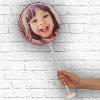 Ballon rond personnalisé cadre paillette rose Ø 28 cm