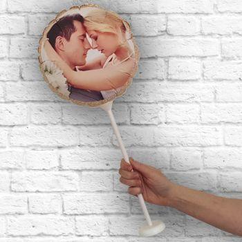 Ballon rond personnalisé cadre paillette or Ø 28 cm