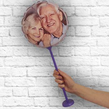 Ballon rond personnalisé cadre paillette argent Ø 28 cm