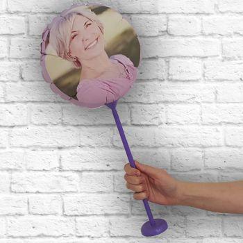 Ballon rond personnalisé cadre lilas Ø 28 cm