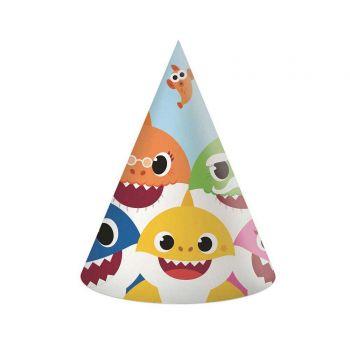 6 chapeaux de fête compostable Baby Shark