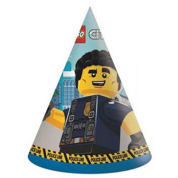 6 chapeaux de fête compostable Lego City