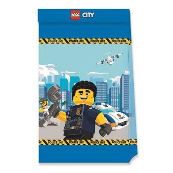 4 Sac cadeaux compostable Lego City