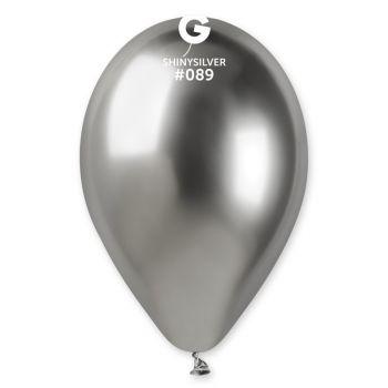 25 Ballons shinny métallisés argent Ø33cm