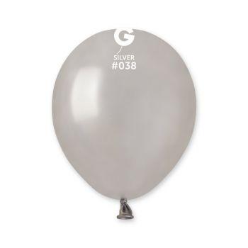 50 Ballons métallisés argent Ø13cm