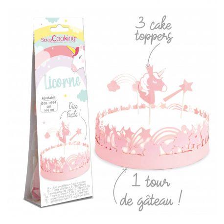 Habillez vos gâteaux d'un joli et délicat contour en papier ainsi que de 3 cake toppers sur le thème de la licorne ! Une déco...
