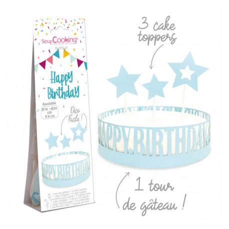 Habillez vos gâteaux d'un joli et délicat contour en papier ainsi que de 3 cake toppers sur le thème Happy Birthday bleu! Une déco ultra...