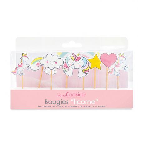 8 bougies sur le thème Licorne à piquer sur une bûche, un gâteau d'anniversaire ou sur des cupcakes.Matière : Paraffine Pic en bois...