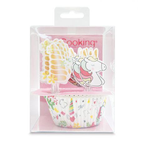 Des cupcakes ou muffins décorés en un clin d'œil grâce à ces 24 caissettes et 24 cake toppers à piquer sur le thème licorne...