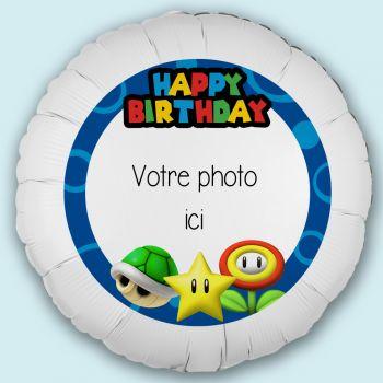 Maxi ballon personnalisé décor Mario HB Ø43cm