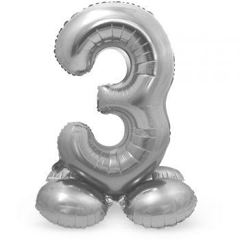 Ballon géant chiffre à poser Argent N°3