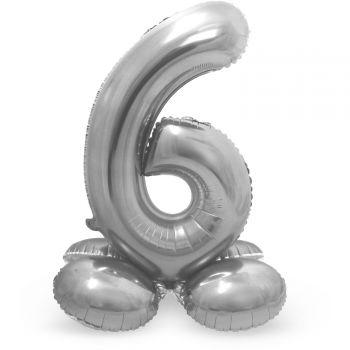Ballon géant chiffre à poser Argent N°6