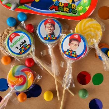 10 Sucettes personnalisées décor Mario