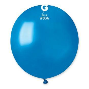 10 Ballons métallisés bleu Ø48cm