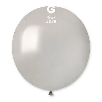 10 Ballons métallisés argent Ø48cm