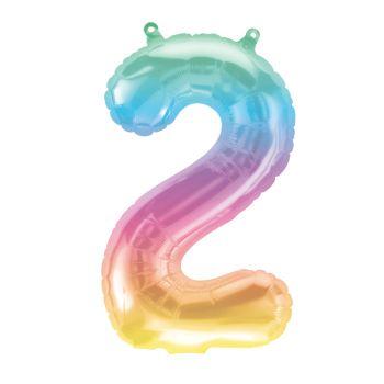 Ballon helium chiffre 2 Jelly pastel 40cm