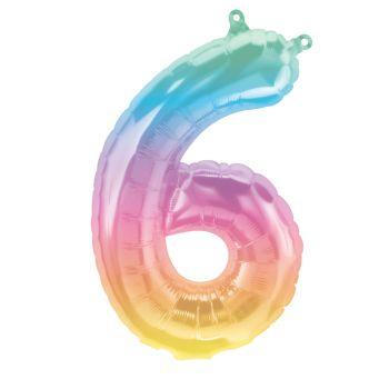 Ballon helium chiffre 6 Jelly pastel 40cm