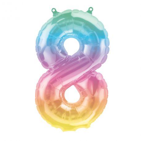 Superbe ballon en forme de chiffre 8 couleur Jelly pastelBallon en aluminium pouvant être gonflé avec ou sans hélium à l'aide d'une...