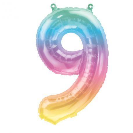 Superbe ballon en forme de chiffre 9 couleur Jelly pastelBallon en aluminium pouvant être gonflé avec ou sans hélium à l'aide d'une...