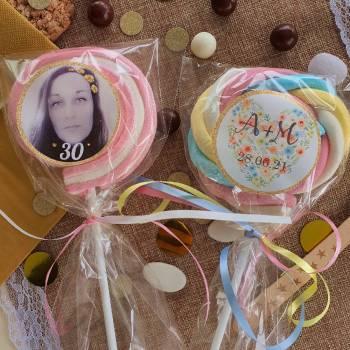 8 Sucettes marshmallow personnalisées Paillette or