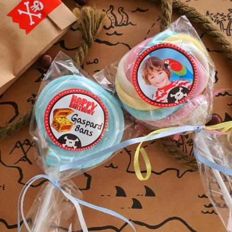 8 sucettes Marshmallowspersonnalisées décor pirate pour vos fêtes, anniversaire et événements. Ultra original pour vos candy...