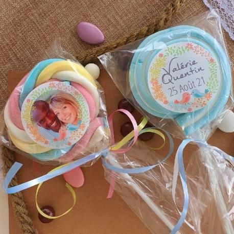 8 sucettes Marshmallowspersonnalisées décor Birds pour vos fêtes, anniversaire et événements. Ultra original pour vos candy...