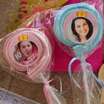 8 Sucettes marshmallow personnalisées Princesse