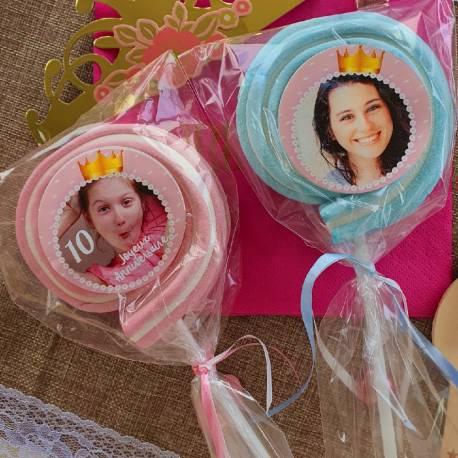 8 sucettes Marshmallowspersonnalisées décor princesse pour vos fêtes, anniversaire et événements. Ultra original pour vos candy...