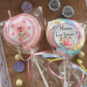 8 Sucettes marshmallow personnalisées Lilas