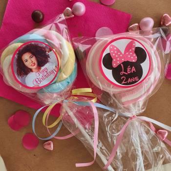 8 Sucettes marshmallow personnalisées Fuschia