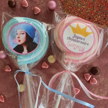 8 Sucettes marshmallow personnalisées Paillette rose
